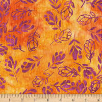 Anthology Batiks Falling Floral Orange