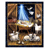 "Springs Creative Christmas Nativity Barn 36"" Panel Multi"