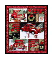 "Springs Creative Christmas Red Truck Collage 36""Panel Multi"