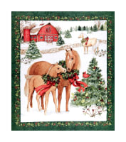 "Springs Creative Christmas Two Horses 36""Panel Multi"