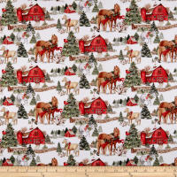 Springs Creative Christmas Two Horses Scenic Multi