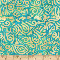 Anthology Batiks Rayon Challis Tribal Stamp Ocean