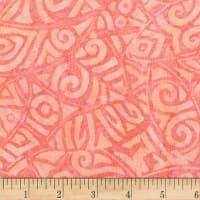Anthology Batiks Rayon Challis Tribal Stamp Coral