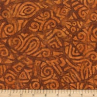 Anthology Batiks Rayon Challis Tribal Stamp Caramel