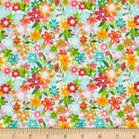 Andover/Makower Fruity Friends Floral White