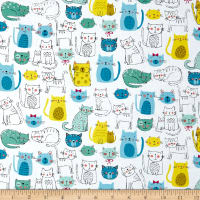 Andover/Makower Kitty Kitty Cats Blue