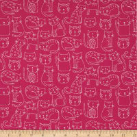 Andover/Makower Kitty Kitty Outline Pink