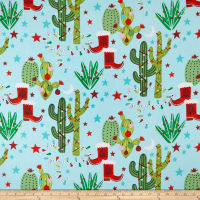 Anthology Batiks Cactus Christmas Light Blue