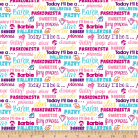 QT Fabrics Barbie Words Multi