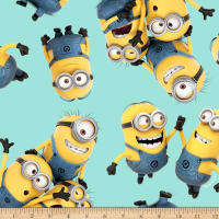 QT Fabrics Fleece Tossed Minions Blue