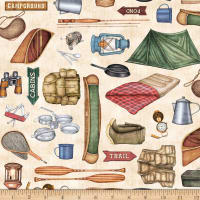 QT Fabrics Dan Morris Backcountry Camping Motifs Cream