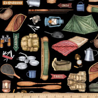 QT Fabrics Dan Morris Backcountry Camping Motifs Black