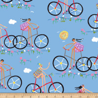 Quilting Treasures City Gals Girls On Bikes Blue