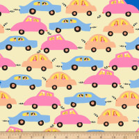 QT Fabrics City Gals Cars Yellow