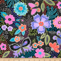 QT Fabrics Gypsy Butterfly Floral Black