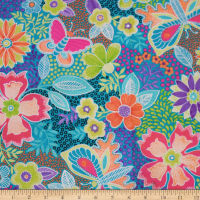 QT Fabrics Gypsy Butterfly Floral Turquoise