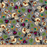 QT Fabrics Hot Tamale Skulls Gray
