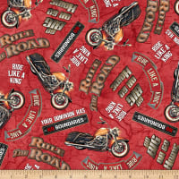QT Fabrics Rule The Road Biker Lingo Red