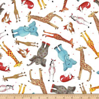 QT Fabrics Wild Things Tossed Animals White