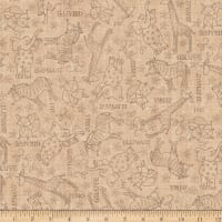 QT Fabrics Wild Things Animal Sketches Tan