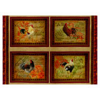 """Rustin Roosters Placemat 36"""" Panel Multi"""