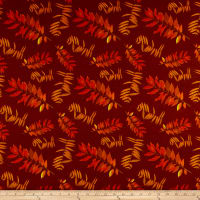 Rustin Roosters Leaf Fronds Burgundy