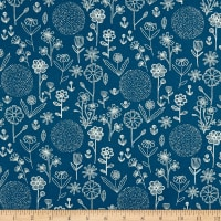 Farm Fresh  Floral Outline Blue