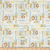 Playful Cuties Flannel 2 Dream Big Words White