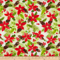 Holiday Joy Poinsettia Metallic White