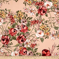 Double Brushed Poly Jersey Knit Floral Garden Rose on Blush