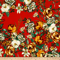 Double Brushed Poly Jersey Knit Floral Garden Orange on Red