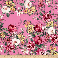 Double Brushed Poly Jersey Knit Floral Garden Pink on Bubblegum Pink