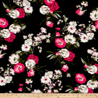 Double Brushed Jersey Knit Floral Bouquet Pink/Fuschia on Black