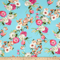 Double Brushed Poly Jersey Knit Floral Bouquet Bubblegum Pink/Silver on Aqua
