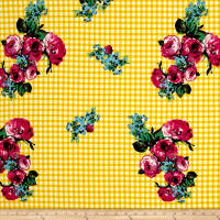 Double Brushed Jersey Knit Roses on Gingham Magenta/Yellow