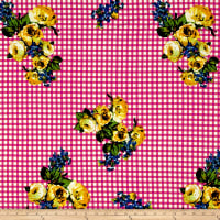 Double Brushed Poly Jersey Knit Roses on Gingham Gold/Fuschia