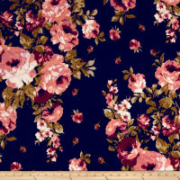 Double Brushed Poly Jersey Knit Roses Navy/Rose