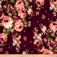 Double Brushed Jersey Knit Roses Burgundy/Mauve