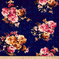 Double Brushed Jersey Knit Roses on Distressed Navy