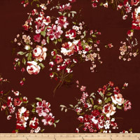 Double Brushed Jersey Knit English Floral Bouquet Burgundy