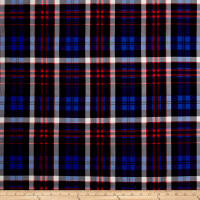 Double Brushed Poly Jersey Knit Plaid Royal