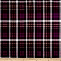 Double Brushed Poly Jersey Knit Plaid Mulberry