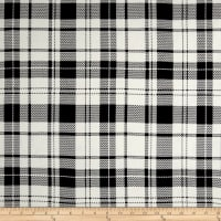 Double Brushed Poly Jersey Knit Plaid Black/Ivory