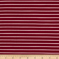 Double Brushed Jersey Knit Small Stripe Wine