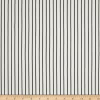 Double Brushed Poly Jersey Knit Small Stripe Ivory/Black