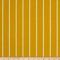 Double Brushed Jersey Knit Large Stripe Mustard
