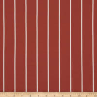 Double Brushed Poly Jersey Knit Large Stripe Terracotta