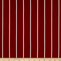 Double Brushed Jersey Knit Large Stripe Burgundy