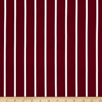 Double Brushed Poly Jersey Knit Medium Stripe Wine