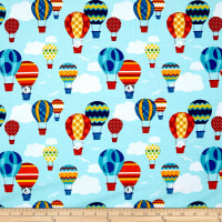Off We Go Hot Air Balloons Light Blue